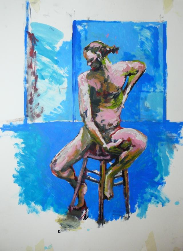 bearded man on stool