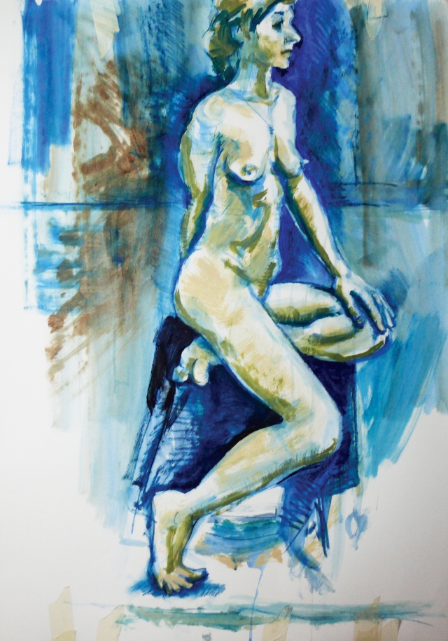 Lady on stool in blue