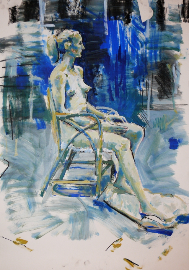 Seated blue lady