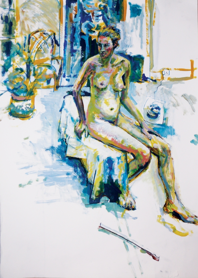 Thin lady seated painting