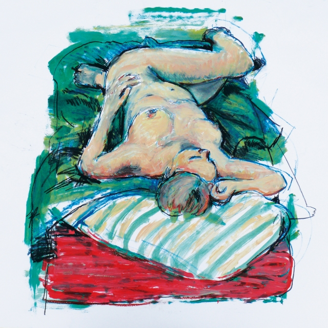 Tall lady on green bed