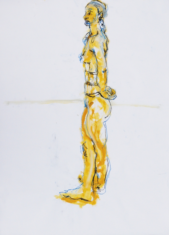 Tall lady yellow standing