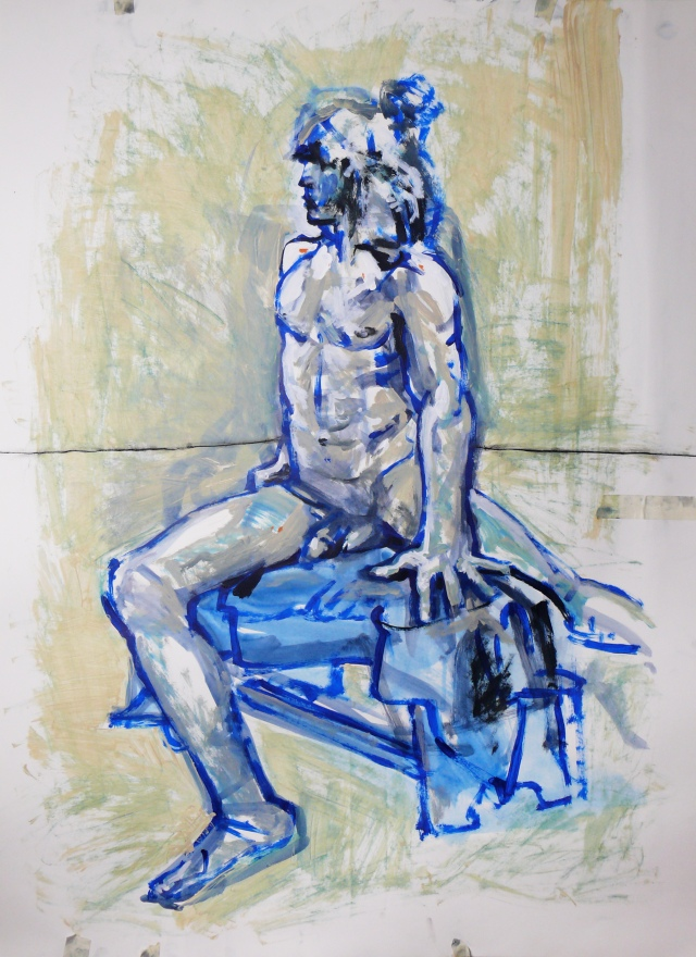 Classical male nude seated
