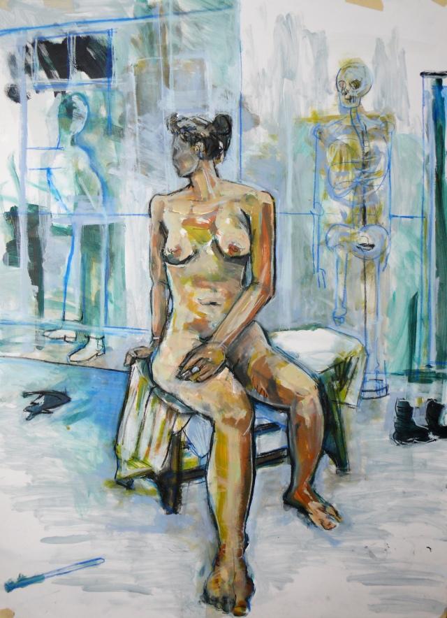 Female nude in studio