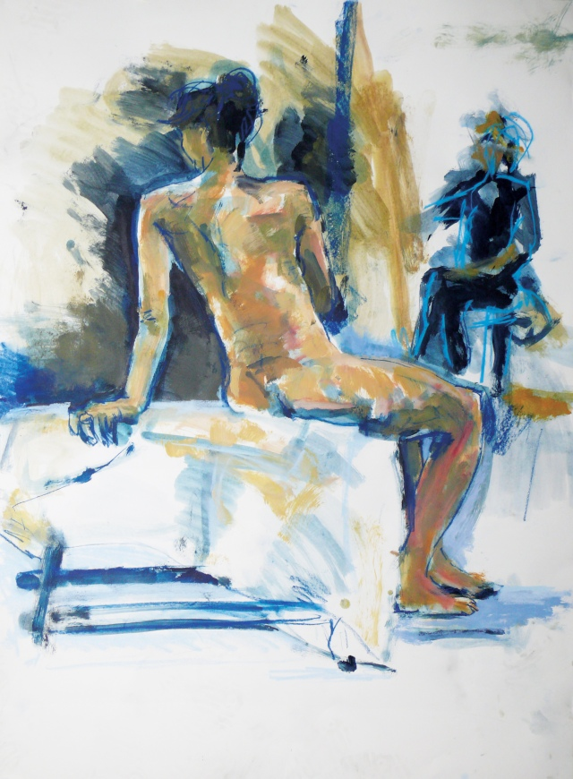 Female nude seated back view