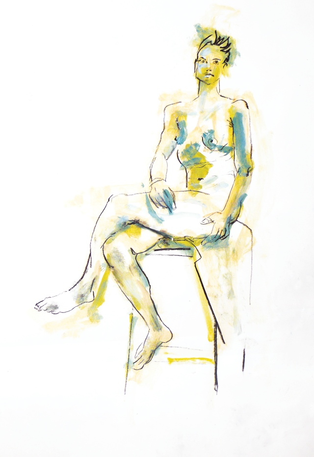 Female nude seated first light