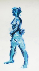 Female nude standing minute second version