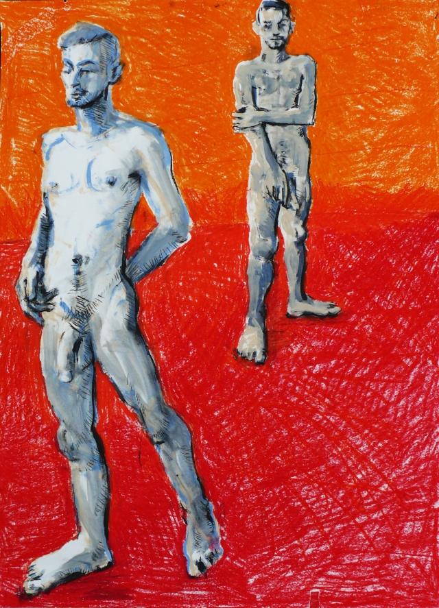 two men on orange red ground
