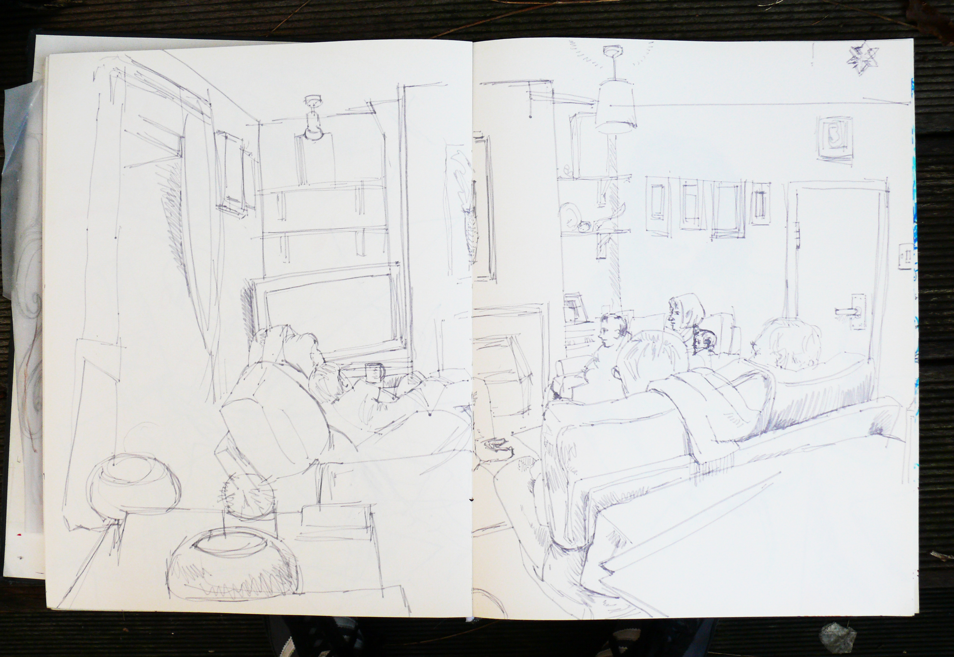 Family Watching tv Together Drawing Family Watching tv Sketch