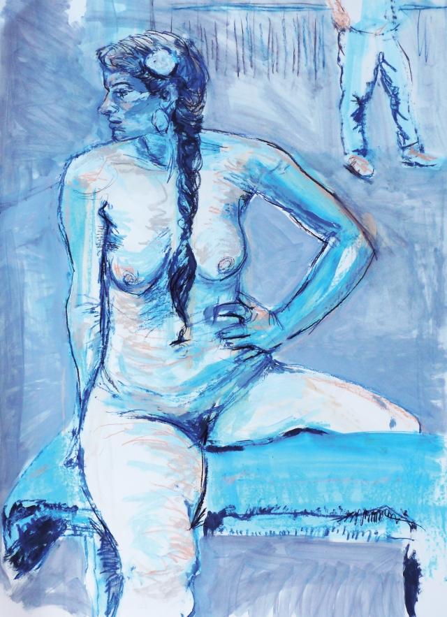 T in blue