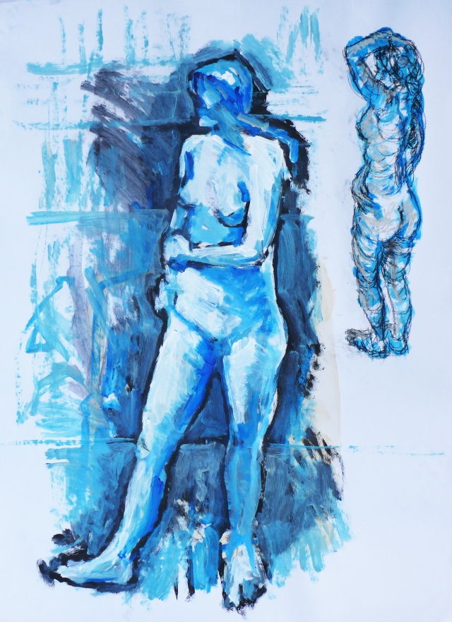 T standing in blue twice