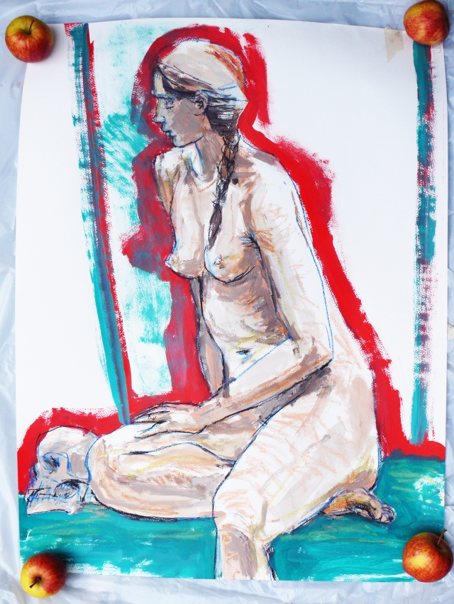 Alice seated with red aura