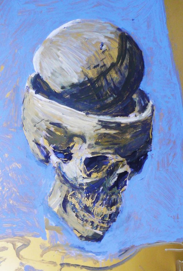 Skull on gold paper