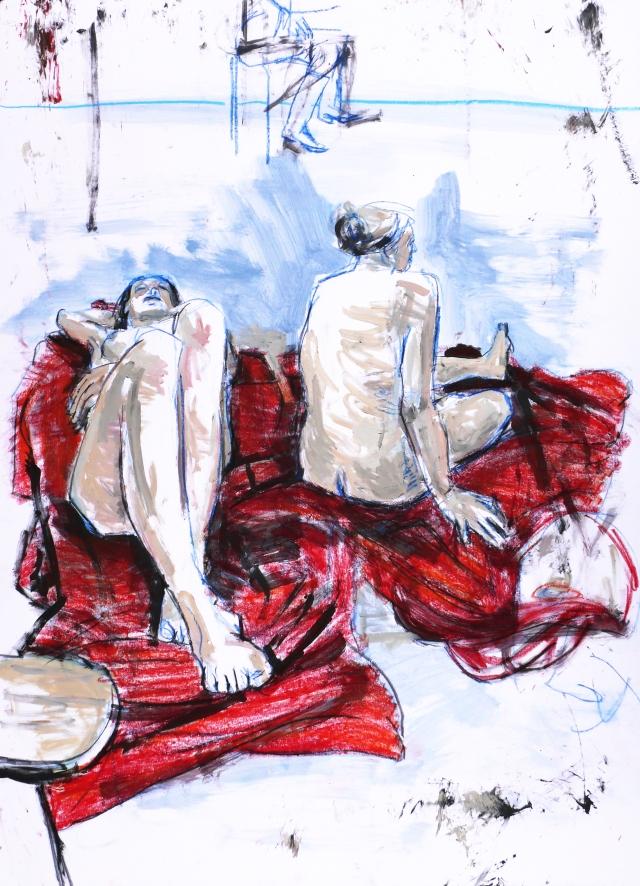2 ladies on red rug