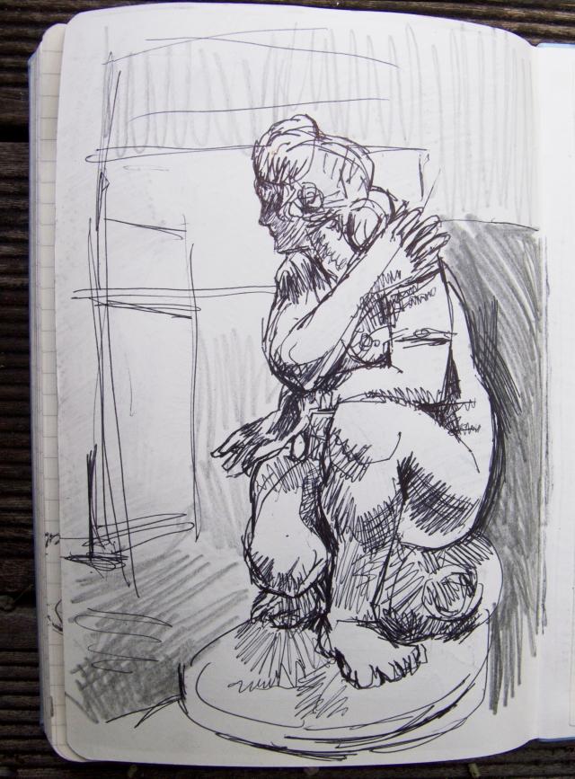 Britsh Museum Aphrodite crouching at her bath sketch