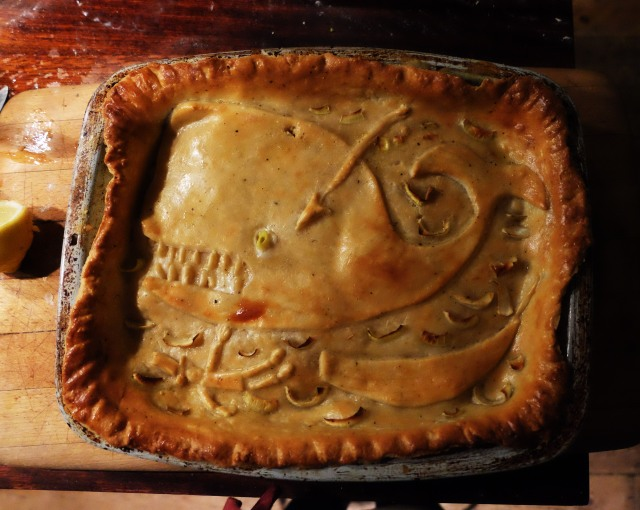 A Fish pie. Showing the end scenes of Captain Ahab.