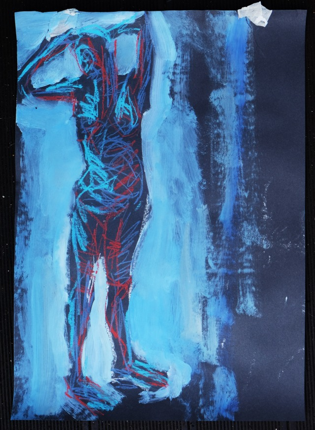 Lady on black paper