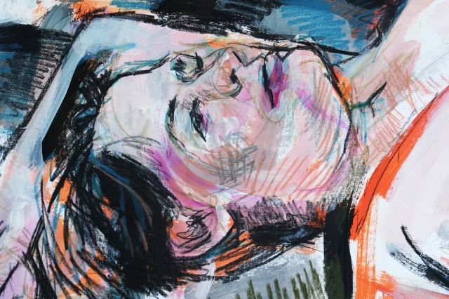 Lady reclining in expressionist manner detail