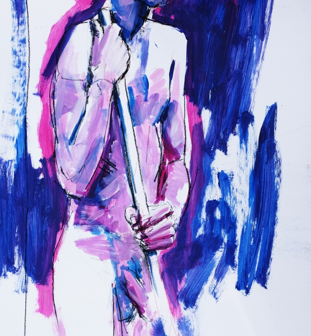 torso of Joe cropped in hot pink and blue