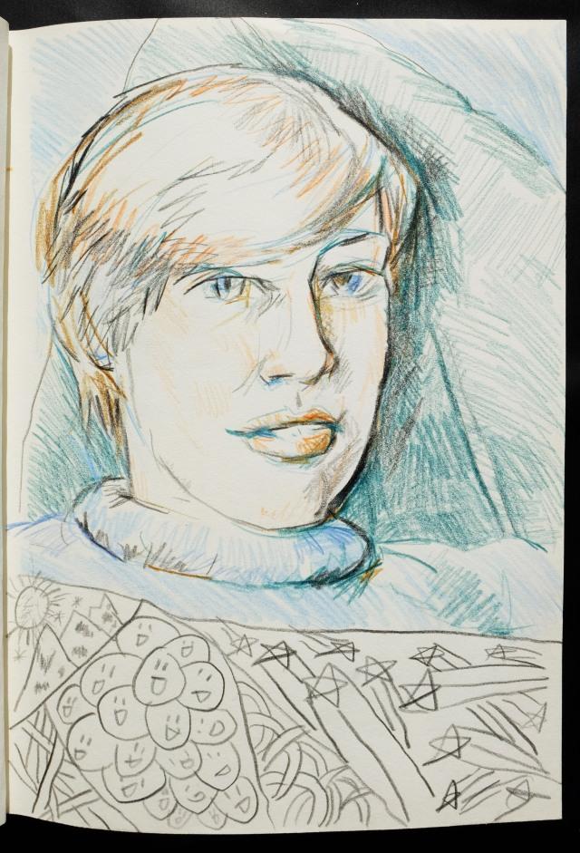 Izzy portrait with alex doodles