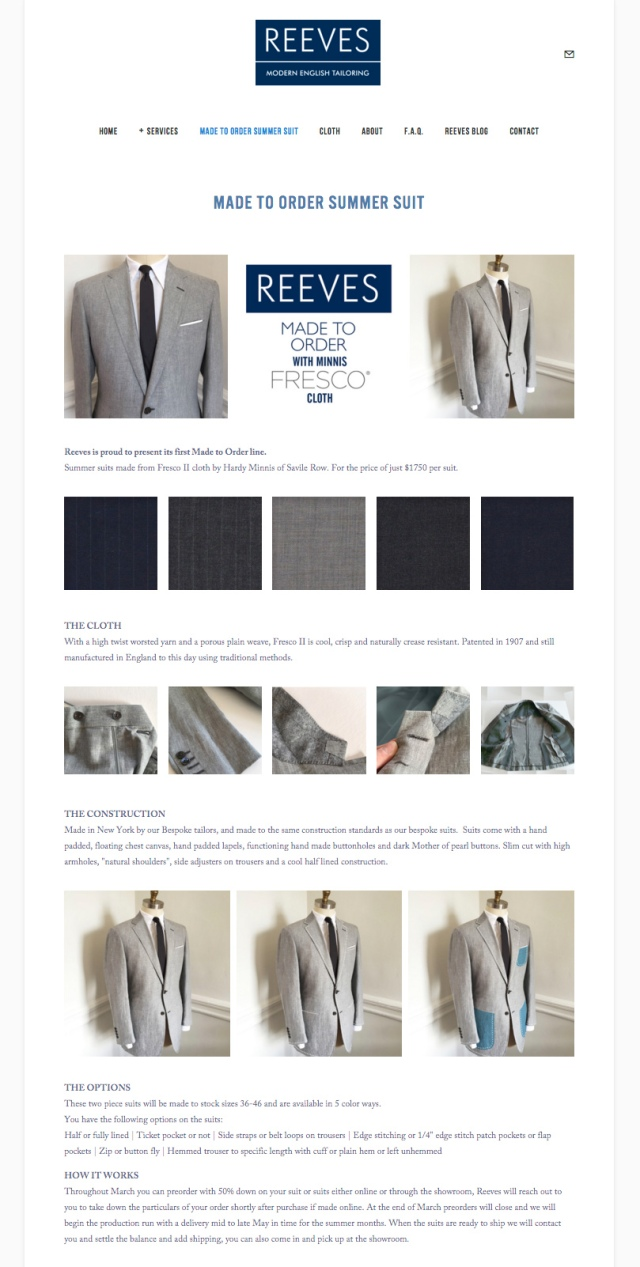 Reeves NYC MTO Summer Suit Offer