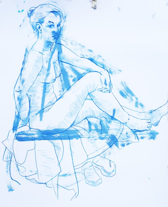 T seated in blues acrylic pastel and pencil
