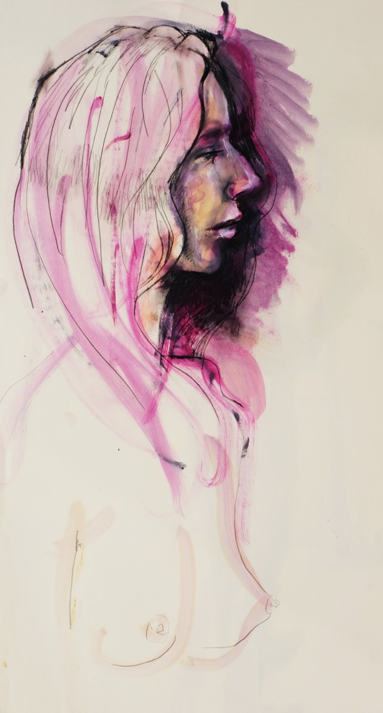 A in profile in magenta oil