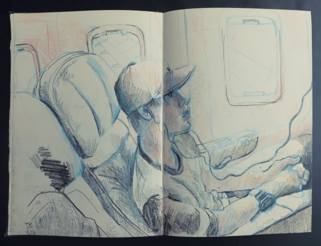 I on a plane watching the movie Martian