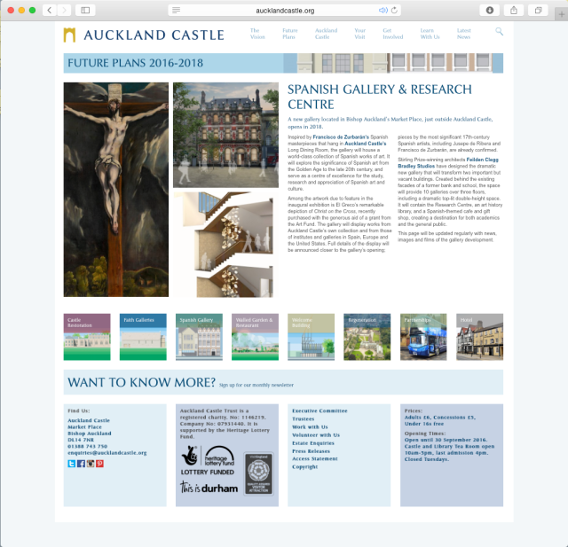 Aucklnd Castle Spanish Gallery page