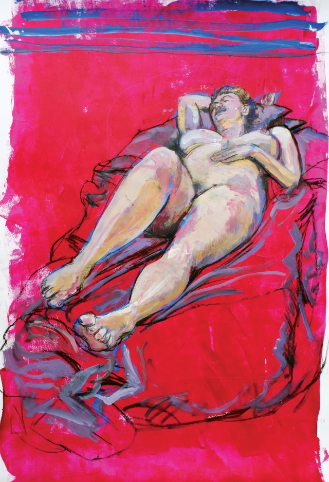 Lady on pinky red full painting