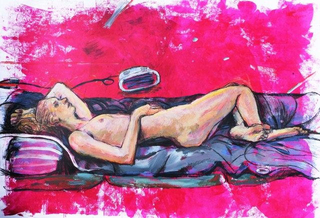 M reclining on red paper