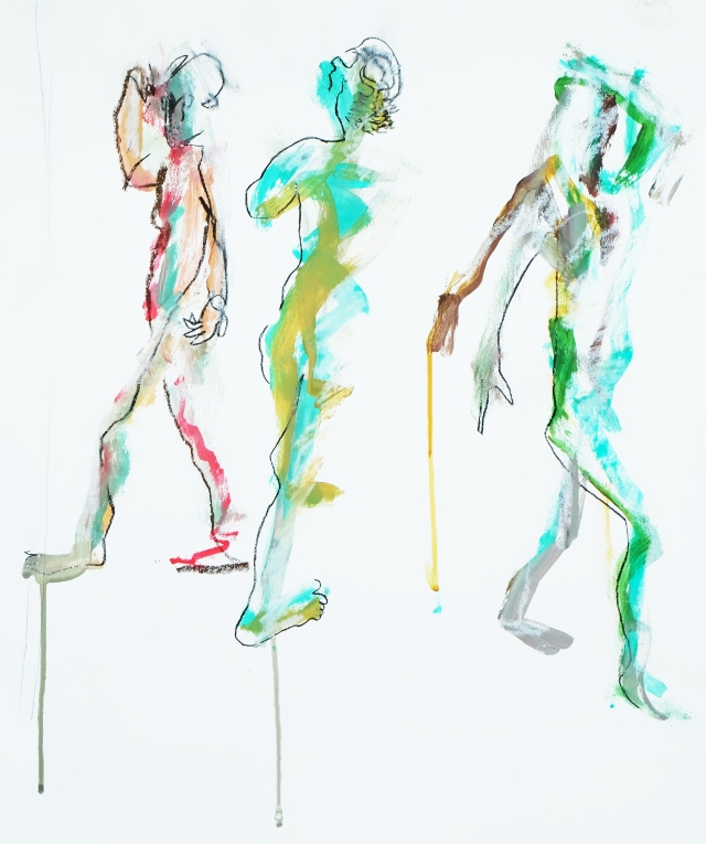 3 figures in motion
