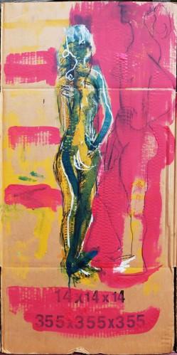 Lady on cardboard x2