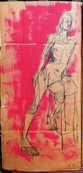 Leaning lady on cardboard