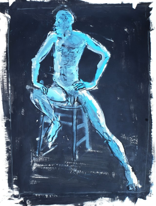 Blue male nude seated