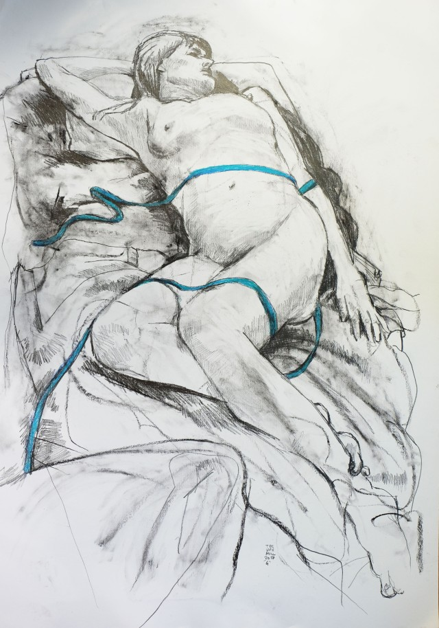 Reclining nude with blue ribbon