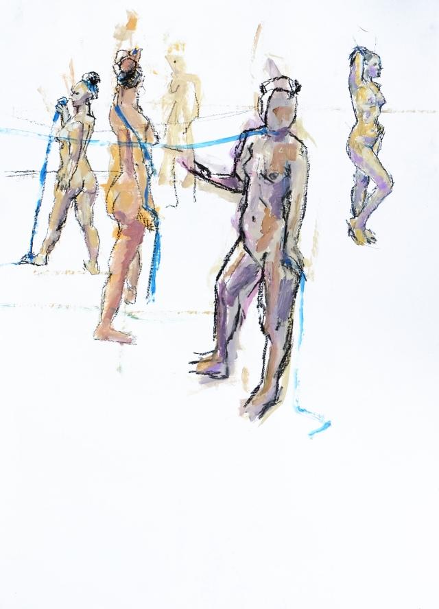 Tatania x4 with blue ribbon plus artist