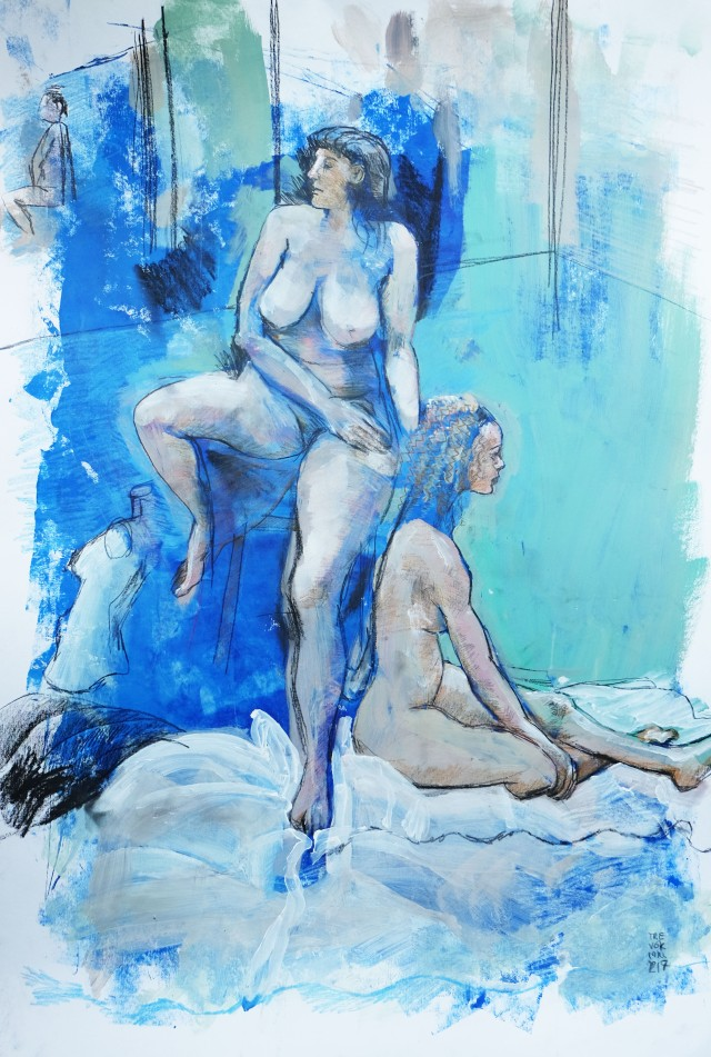 two life models on blue 031117
