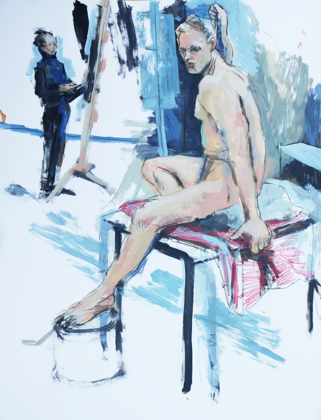 Life drawing model and artist 090218