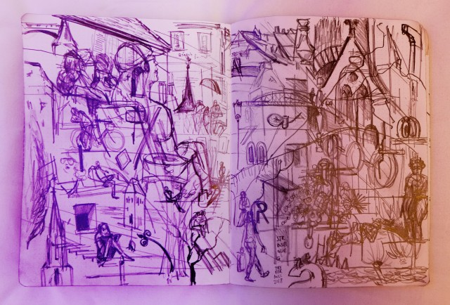 Strasbourg tourist boat sketches