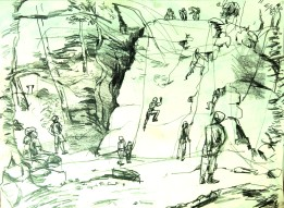 Climbing in Padley Gorge MONO 230718