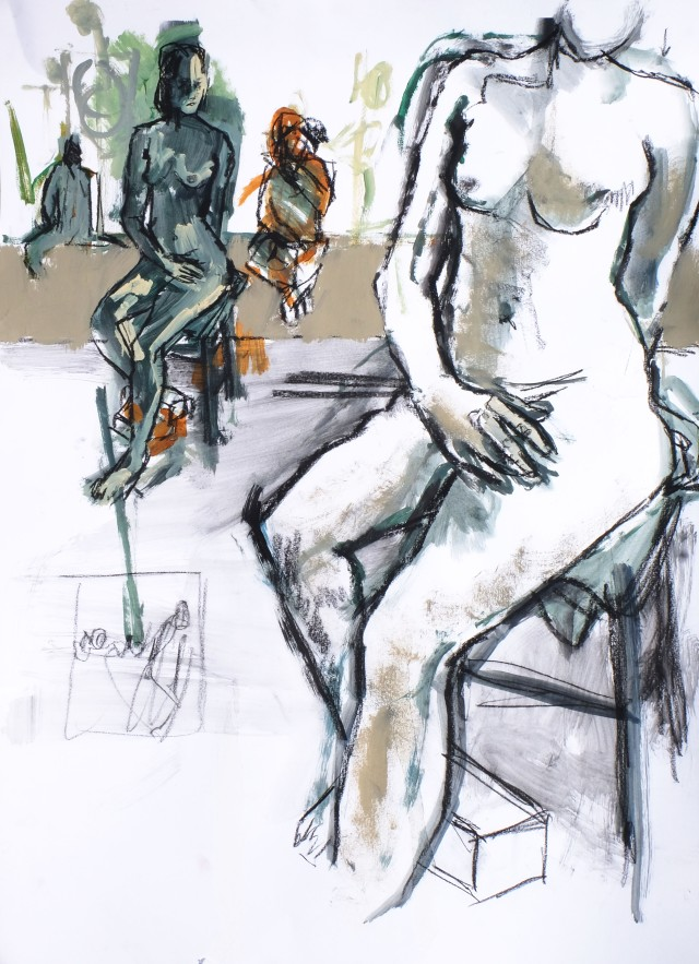 study for three models 1 artist