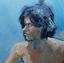 2 nudes on blue detail head